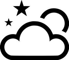Cloud Outline, Image Cloud, Star Cloud, Png Icons, Stars And Moon, Clip Art, Clouds, Free, Pictures