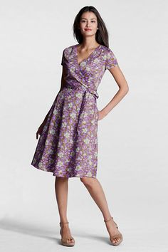 6f01d62ebb566c Women s Regular Pattern Surplice Dress from Lands  End