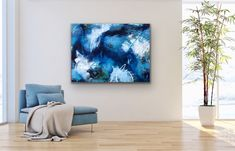 #abstractpainting #interiorart #blue Abstract Art, Tapestry, Clouds, Display, Interior Design, Artwork, Blue, Painting, Home Decor