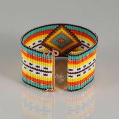 Golden Serape Mexican Style Bead Loom Bracelet by PuebloAndCo