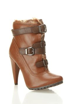 Brown Buckle Detail Ankle Boot
