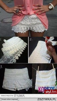 DIY – Lace Shorts out of White Soffe Shorts! - Click image to find more fashion posts