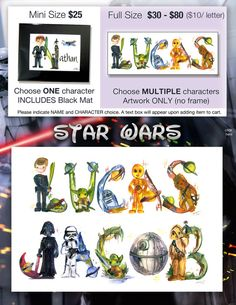 Star Wars Name Painting - Name Art Princess Leia, Luke Skywalker, Han Solo, Darth Vader, Yoda