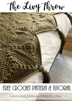 The Livy Throw-Free Crochet Pattern — Meghan Makes Do - Modern crochet patterns - Crochet Simple, Crochet Diy, Crochet Home, Crochet Granny, Learn To Crochet, Crochet Crafts, Crochet Projects, Easy Knitting Projects, Crochet Owls