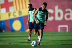 Neymar of FC Barcelona runs for the ball during training session at the Sant Joan Despi Sport Complex on July 29, 2013 in Barcelona, Spain.