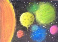 "Planets - ""This lesson is about making a circle into Sphere."" This would work really well with the understanding of the difference between the two. Kids Art Space, Kids Art Class, Art For Kids, Solar System Art, Primary School Art, 6th Grade Art, Elements And Principles, Ecole Art, Collaborative Art"