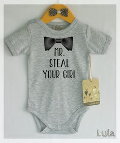 Funny baby boy clothes. Mr. steal your girl baby romper. Baby boy cute clothes. Many colors available.