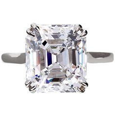 6.16 Carat E VVS2 Square Emerald Diamond Solitaire Engagement Ring GIA #TMWJewelsCo #ArtDecoEngagementRing #ArtDecoRing #VintageRings