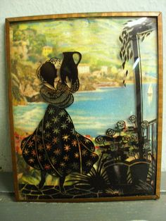 Vintage Convex Bubble Glass Wall Art Reverse Painted Sihouette Exotic Woman   eBay
