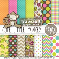 Girly Pink Monkey Clipart, Digital Paper, Pink, Lime, Turquoise, Brown, Orange, for Party Printables, Invitation Birthday Party Baby Shower