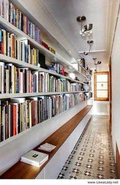 "littledallilasbookshelf: "" A beautiful hallway library """