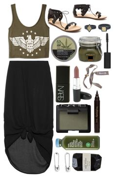 """""""Untitled #209"""" by luciamenesess ❤ liked on Polyvore featuring Minimarket, Forever 21, Loeffler Randall, NARS Cosmetics, The Body Shop, Borghese, Topshop, Disney Couture and Cassia"""