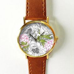Pink and Grey Floral Watch, Vintage Style Leather Watch, Women Watches, Unisex Watch, Boyfriend Watch, Freeforme 2015