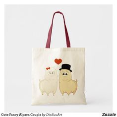Shop Cute Fancy Alpaca Couple Tote Bag created by DiaSuuArt. Kawaii Alpaca, Cute Alpaca, Art Pad, Valentine Day Gifts, Valentines, Valentine's Day, Fancy Hairstyles, Budget Fashion, Kawaii Cute