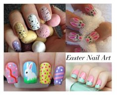 """Easter Nail Art"" by luxuree ❤ liked on Polyvore featuring beauty"