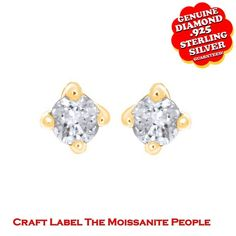 """1/10 Ct Genuine Diamond 14K Gold Solitaire Stud Earring With Screwback """"Mother\'s Day Gift"""". Starting at $44"""
