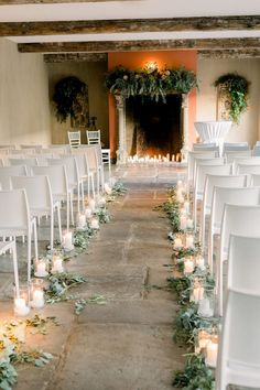 18 Stylish Indoor Wedding Aisle Decoration Ideas - Oh Best Day Ever Indoor wedding ceremony with fireplace altar. Wedding Aisles, Wedding Ceremony Ideas, Indoor Wedding Ceremonies, Indoor Ceremony, Wedding Aisle Candles, Diy Wedding, Church Ceremony Decor, Wedding Isle Flowers, Wedding Table