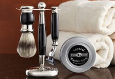 Shaving kits like this (found at http://www.sharperimage.com/si/view/product/Men%26%2339%3Bs-Shaving-Kit/200893) are always appreciated, too. His old razor is rusty anyway.