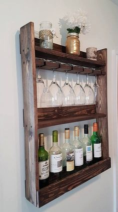 solid wood wine / glass rack 6 bottle rustic by Allthingzrustic