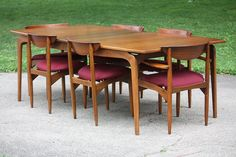 Motivating Lane Perception Midcentury Modern Sculptural Walnut Dining Table and Chairs (U. Walnut Dining Table, Dining Table Chairs, Diner Table, Lane Furniture, Mid Century Furniture, Midcentury Modern, Diners, Perception, Bungalow