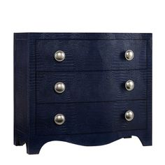 Stylist's Tip: This blue chest's leather details offer a touch of unexpected texture for a seriously chic look. Let it stand out among your traditional bedro...