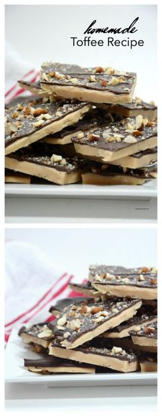 Recipes The best Homemade Toffee Recipe. Learn how to make this delicious toffee at home. Homemade Toffee, Homemade Candies, Homemade Recipe, Candy Recipes, Baking Recipes, Dessert Recipes, Yummy Recipes, Recipies, Healthy Recipes