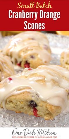 Buttery, melt-in-your-mouth Cranberry Orange Scones are perfect to enjoy with coffee or tea. This small batch recipe yields 4 perfect scones. | One Dish Kitchen | #scones #cranberries #baking #smallbatch Cooking For One, Meals For One, Small Meals, Batch Cooking, Baking Recipes, Dessert Recipes, Bread Recipes, Desserts, Breakfast Recipes