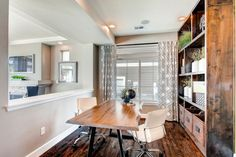 Oakwood Homes for a Transitional Home Office with a Live Edge Desk and the Yampa (3) by Oakwood Homes
