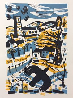 Rooks linocut by Jeremy Speck Visit his shop here: https://www.etsy.com/uk/shop/Jomes?ref=shop_sugg