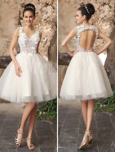 Vestido de noiva  Laço sem encosto  Applique tule lantejoulas na cor Marfim