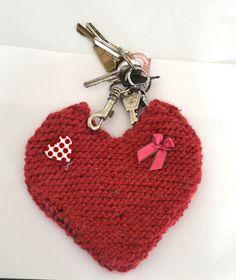 Trousseau de clef coeur en tricot / spécial saint valentin : Trousses par manou92290