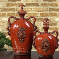 S/2 French Tuscan Italian Style Fleur De Lis Old World Vases Urns Jars #TuscanStyleMediterraneanStyleFrenchTuscan