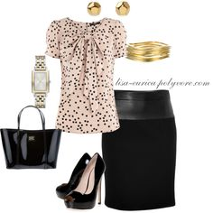 """Cream & Black Work Chic"" by lisa-eurica on Polyvore"