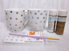 diy polka dot coffee mugs, crafts, You ll need a white ceramic coffee mug reinforcements a paintbrush and Martha Stewart multi surface paints