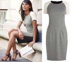 BNWT NEXT Sheer Sleeve Grey Black Beige Bodycon Petite Dress UK 10/EU – CheapAndTrendy