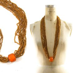 80s Chunky Amber Necklace / Multi Strand / Ethnic / by nickiefrye, $32.00