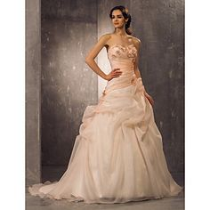 Lan Ting A-line/Princess Plus Sizes Wedding Dress - Pearl Pink (color may vary by monitor) Court Train Sweetheart Organza – USD $ 189.99