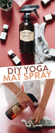 DIY Yoga Mat Spray made from natural ingredients like witch hazel and essential oils so you can keep your mat clean and your body healthy! #diy #yoga #yogamat #yoga #meditation