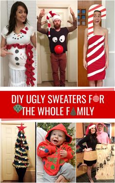 Beautiful DIY Ugly sweater for the entire household! DIY Ugly sweater for the entire househol. Tacky Christmas Outfit, Homemade Ugly Christmas Sweater, Couple Christmas, Christmas Diy, Family Ugly Christmas Sweaters, Funny Christmas, Christmas Wrapping, Christmas Ecards, Xmas Sweaters