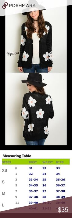 """💜ALMOST GONE💜 NEW The Danica Daisy Cardigan Be in style during the cooler weather with this adorable black cardigan with daisy pattern.  Material is 100%cotton.  This item is 🆕, direct from the manufacturer without the specific store tag.   LIMITED QUANTITIES, I offer 25% off 2 items and FREE shipping on any single item over $25.  Simply """"offer"""" $6 less than the price shown for any item over $25👍.  💜 Please ask questions-I want you to be happy😊 Paicar Concepts Sweaters Cardigans"""