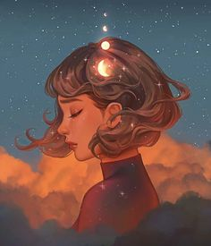 Beyond The Clouds, Karmen Loh, Digital, 2020 Art Inspo, Inspiration Art, Art Anime Fille, Anime Art Girl, Fantasy Wesen, Fantasy Art, L'art Du Portrait, Art Mignon, Cartoon Art Styles