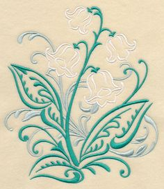 Lily of the Valley Filigree. Machine embroidery 18*20 cm. 4.99 usd