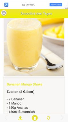 Lecker Mango-Ananas-Smoothie Smoothie Drinks, Fruit Smoothies, Smoothie Bowl, Shake, Healthy Smoothies For Kids, Whole Food Recipes, Drink Recipes, Food Videos, Health And Wellness