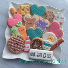 Go together/pair/love food cookies Iced Sugar Cookies, Christmas Sugar Cookies, Royal Icing Cookies, Fancy Cookies, Cute Cookies, Cupcakes, Cupcake Cookies, Buffet, Valentines Day Cookies