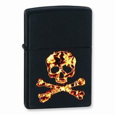Zippo Flame Skull & Crossbones Black Matte Lighter - Engravable Gift Item