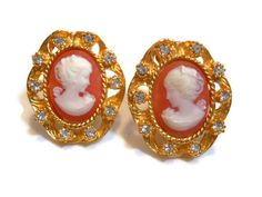 Vintage R.J. Graziano cameo clip earrings on by maggiescornerstore, $45.00