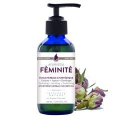 Hydrate + Apaise + Enveloppe. Cette huile herbale infusée de nos plantes douces et nourrissantes est parfaite pour masser et hydrater la peau de future maman et/ou à prendre soins de sa féminité. L'odeur douce et enveloppante nous invite à un moment de détente pour prendre soins de soi. Cette huile est idéale pour apaiser les tensions pré-menstruelles. #ayurveda Ayurveda, Future Maman, Moment, Massage, Soap, Bottle, Nature, Envelope, Take Care Of Yourself