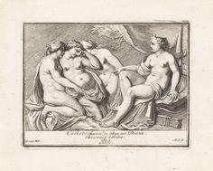 Matthijs Pool   Bas-reliëf met Diana en Callisto, Matthijs Pool, 1727   Diana ontdekt dat Callisto, één van haar nimfen, zwanger is van Jupiter. Ze wijst beschuldigend naar Callisto, wier kleren door nimfen uitgetrokken worden. Midden onder genummerd: XXVII.