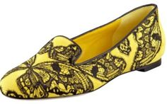 Alexander McQueen Yellow Butterfly Embellished Suede Smoking Slippers