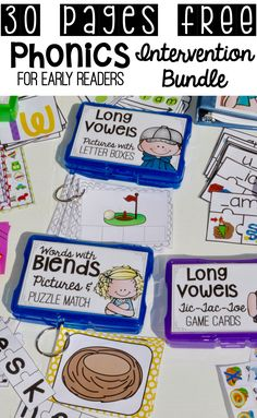 This pin has a groups of activities intended to be used with students who are falling behind in reading. The range of activities provided makes sure there is an activity for your student no matter where they are in the process. Phonics Words, Teaching Phonics, Phonics Activities, Kindergarten Literacy, Teaching Reading, Matter Activities, Reading Lessons, Reading Intervention Kindergarten, Alpha Phonics